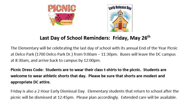 Pinic_Last Day of School Reminders